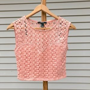 NWT Pink Crochet Crop Top with See Through Back